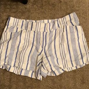 Blue and white striped Loft Shorts